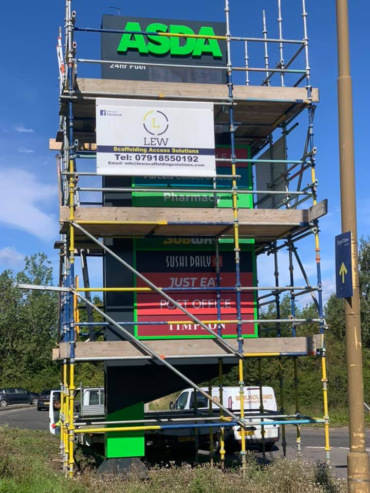 Scaffolding in Edinburgh constructed for for Asda