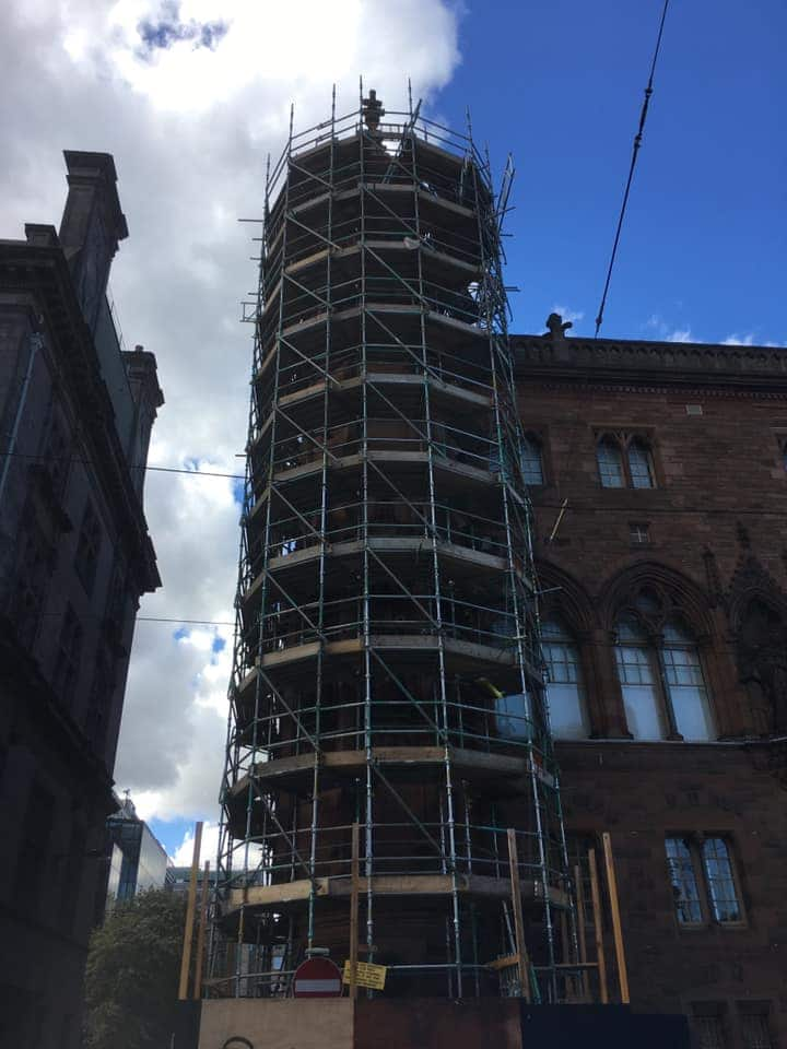 Commercial scaffolding services provided for a church in Edinburgh